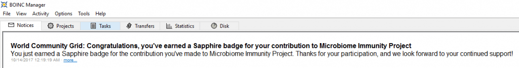 Microbiome Immunity Project - Sapphire Badge BOINC Notice