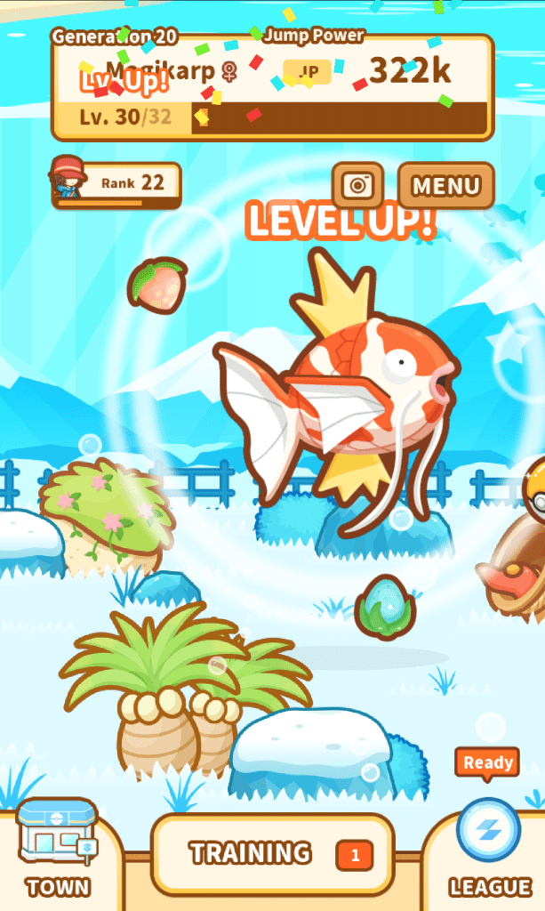 My generation 20 Magikarp now reached level 30!