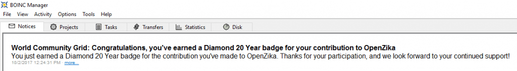 OpenZika - Diamond 20 Year BOINC Message