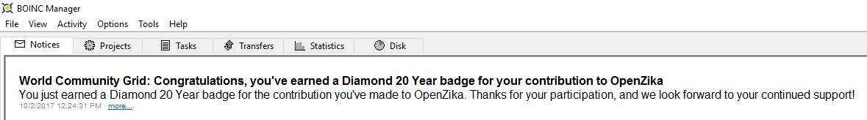 OpenZika - Diamond 20 Year BOINC Message