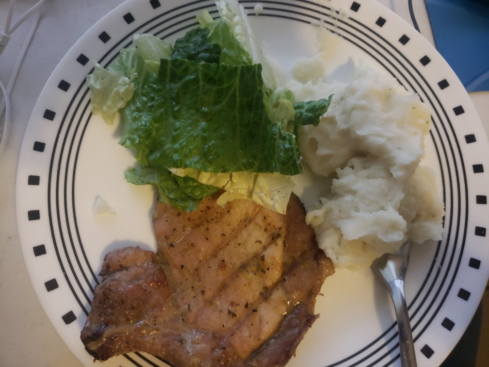 Pork Chop, Smashed Potato and Salad