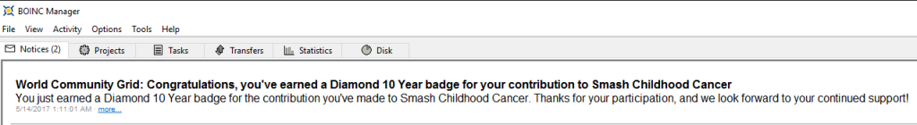 World Community Grid - Smash Childhood Cancer - Diamond 10 Year BOINC Message