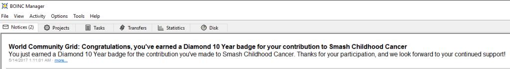 World Community Grid - Smash Childhood Cancer - Diamond 10 Year BOINC Message