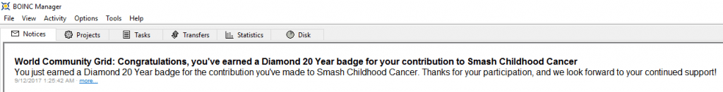 World Community Grid - Smash Childhood Cancer - Diamond 20 Year BOINC Message