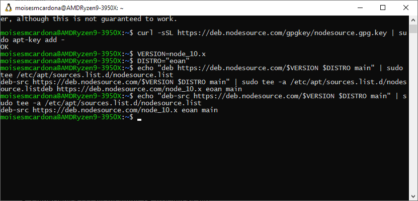 NodeJS Manual installation commands