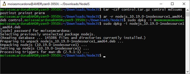 Installing the modified NodeJS debian package