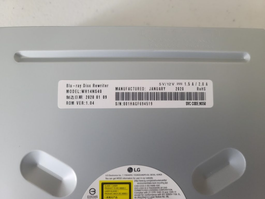 LG 14X Blu-Ray Writer WH14NS40 Drive Model, Firmware, and Manufacture Date