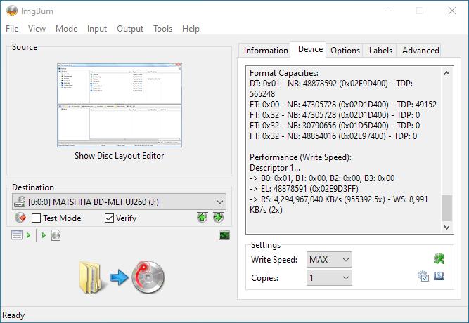 ImgBurn Panasonic UJ260 3