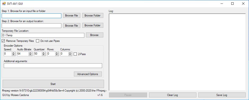 Ventana principal de SVT-AV1 GUI v1.5