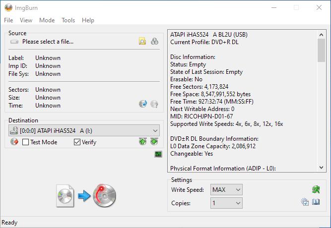 Gigablock DVD+R DL ImgBurn Info 1