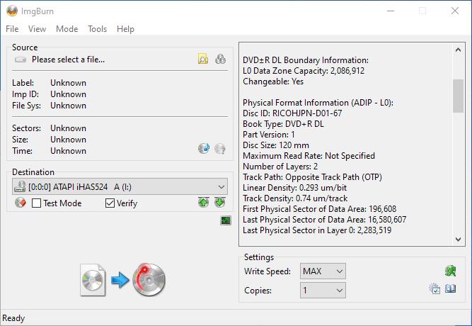 Gigablock DVD+R DL ImgBurn Info 2