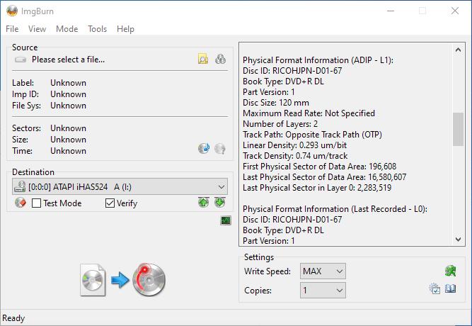 Gigablock DVD+R DL ImgBurn Info 3