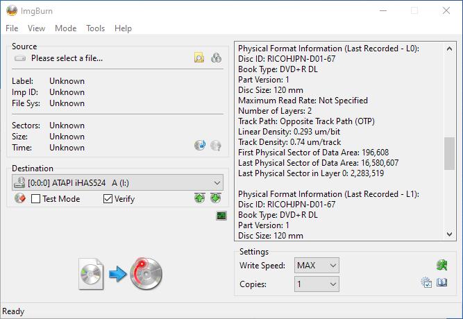 Gigablock DVD+R DL ImgBurn Info 4
