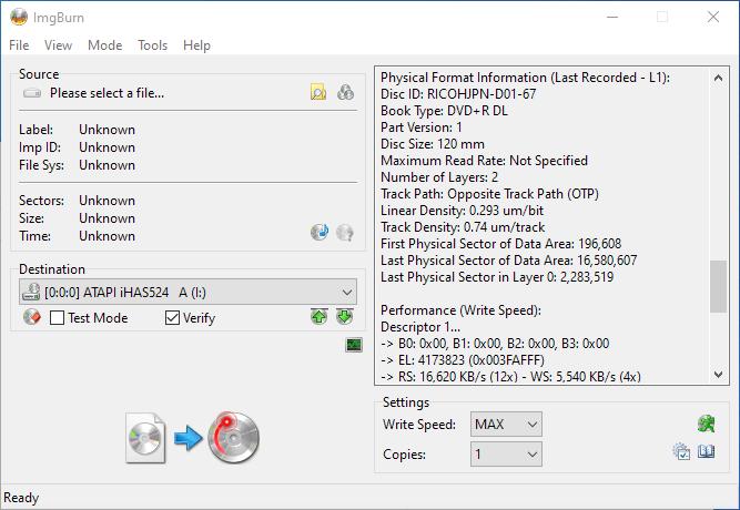 Gigablock DVD+R DL ImgBurn Info 5
