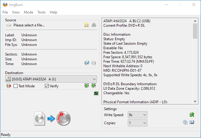 Gigablock DVD+R DL iHAS524 A Info 1