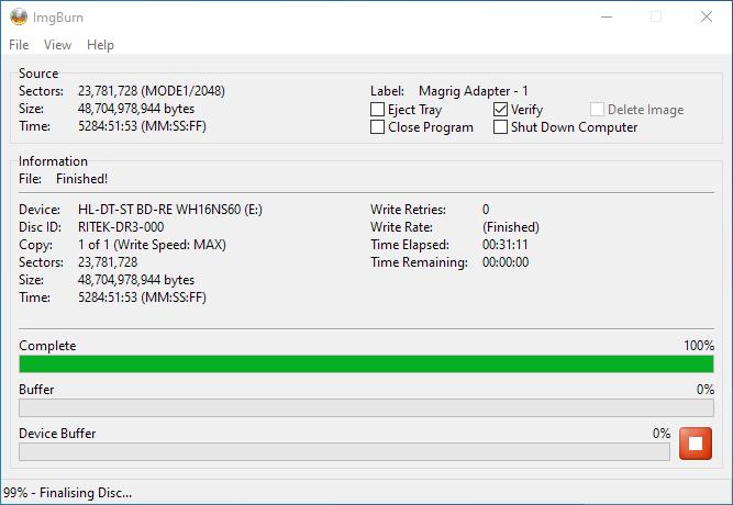 PlexDisc 10pk BD-R DL 50GB ImgBurn Burning 10