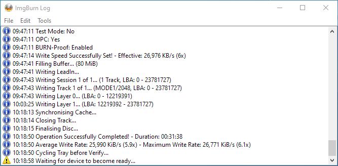PlexDisc 10pk BD-R DL 50GB ImgBurn Burning 11
