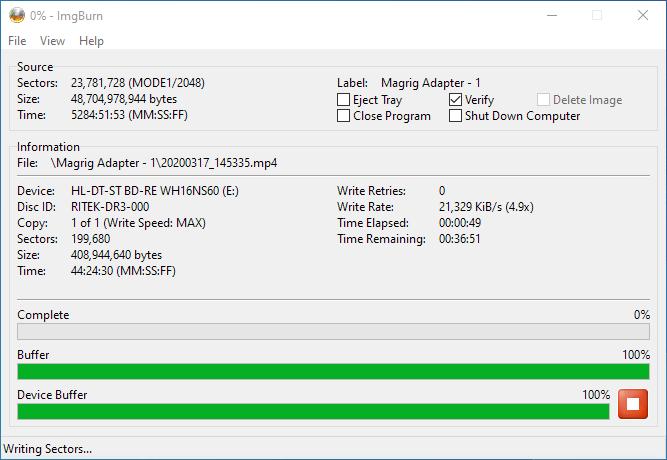 PlexDisc 10pk BD-R DL 50GB ImgBurn Burning 3