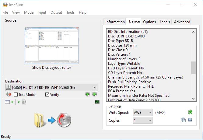 PlexDisc 10pk BD-R DL 50GB ImgBurn Info 3