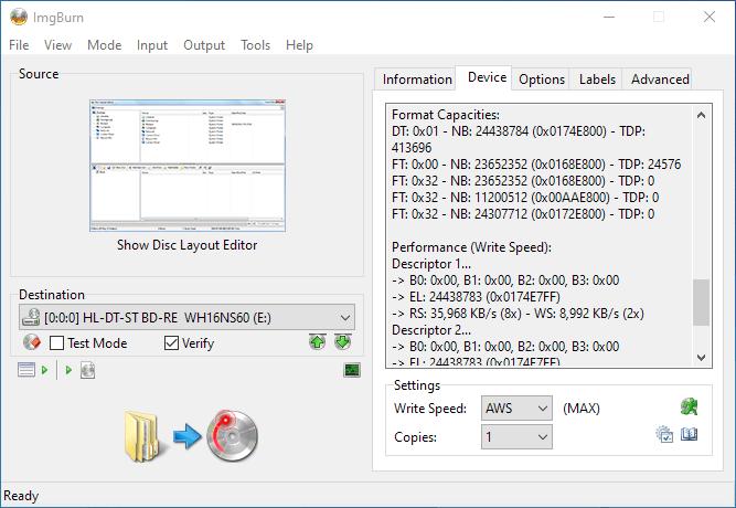 PlexDisc 10pk BD-R DL 50GB ImgBurn Info 4