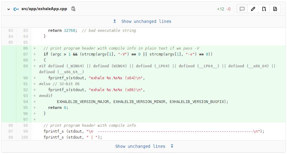 exhale -V argument code