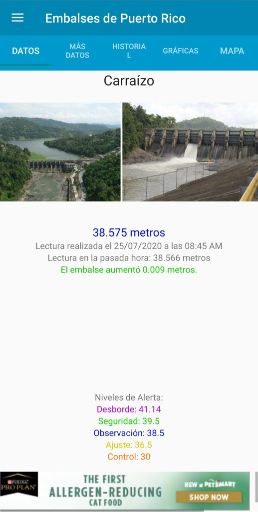 Embalses PR Light Theme Reservoir Page - Spanish