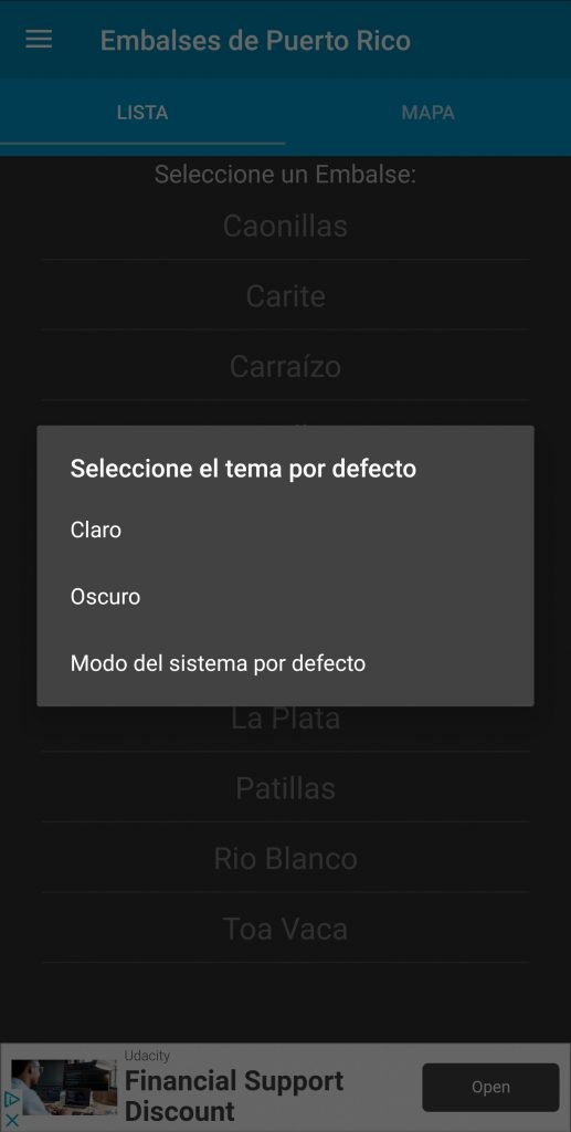 Embalses PR Dark Theme - Theme Selection - Spanish