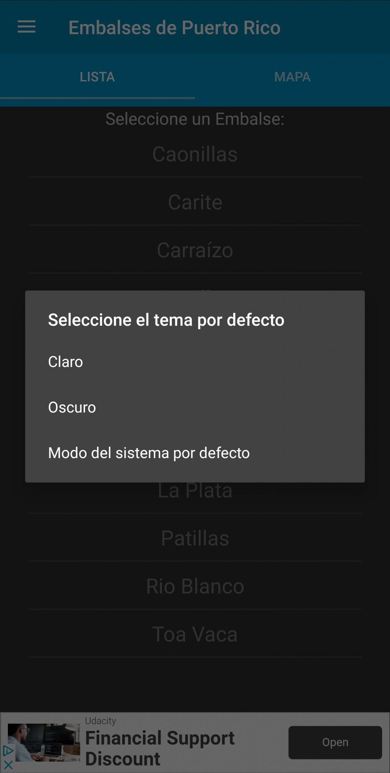 Embalses PR Dark Theme - Theme Selection - Spanish