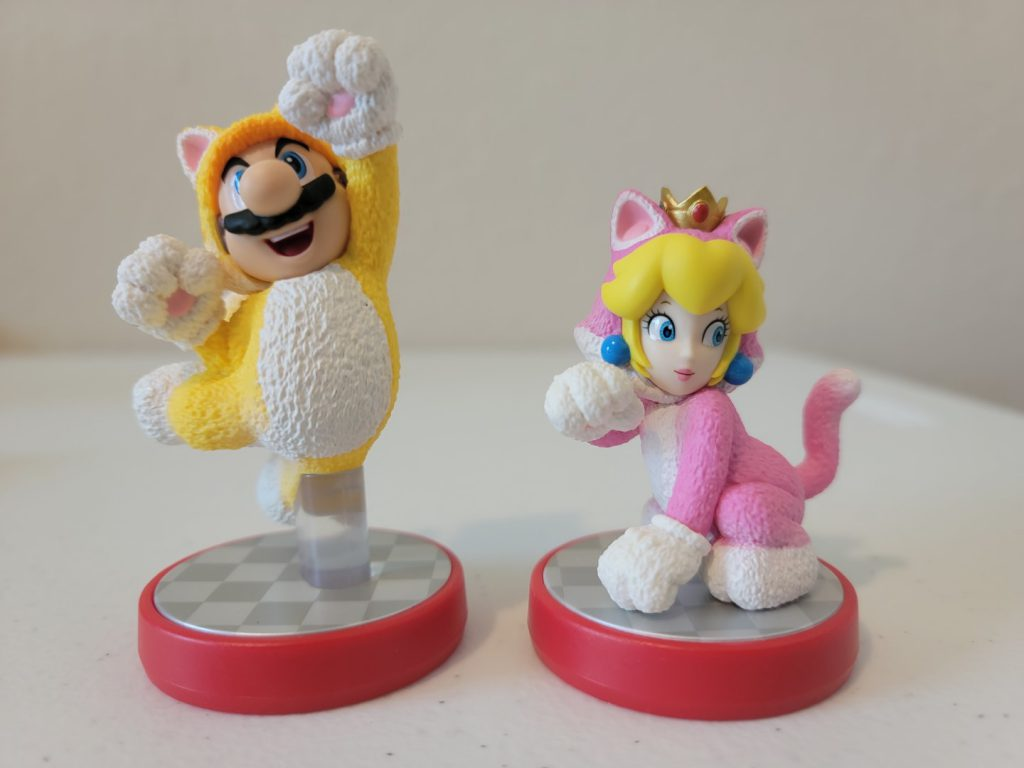 Cat Peach and Cat Mario Amiibos