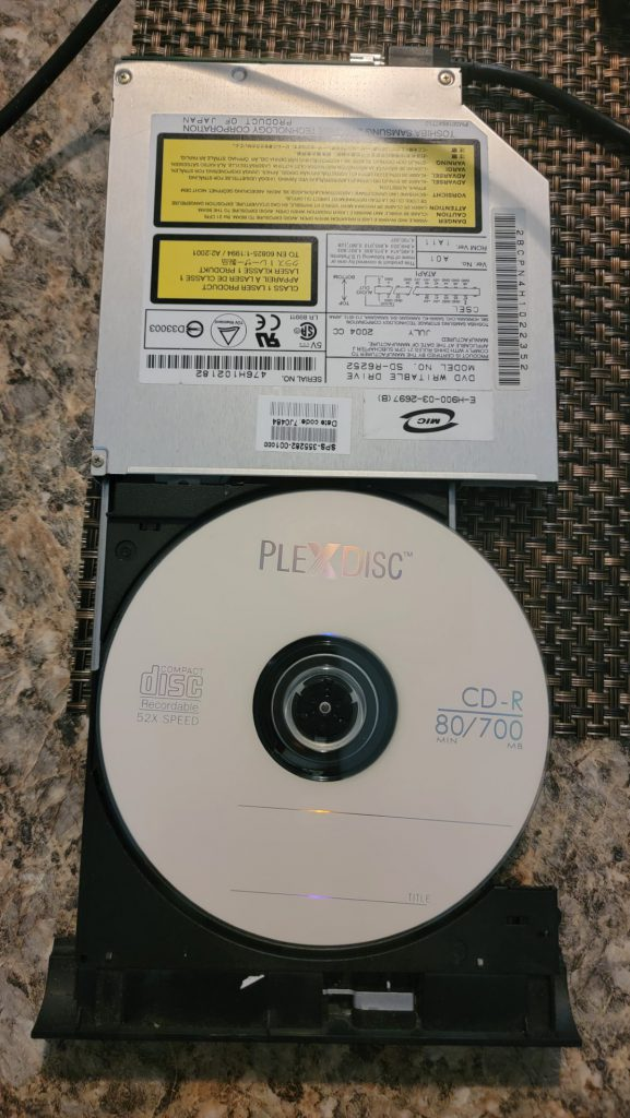 Plexdisc CD-R on Toshiba SD-R6252