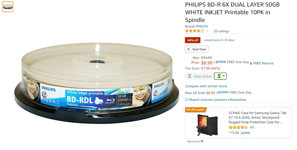 Philips BD-R DL media