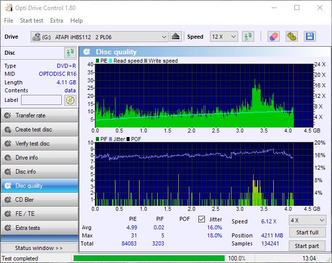 PlexDisc OPTODISC-R16-00 Optiarc AD-7561A 4x Scan iHBS112 4x