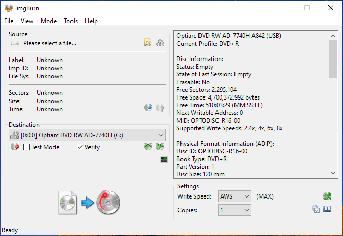 PlexDisc OPTODISC-R16-00 Optiarc AD-7740H 1
