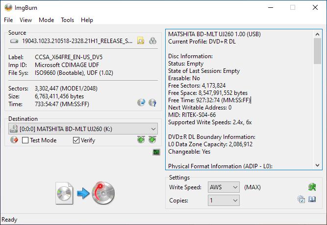 Smartbuy DVD+R DL RITEK-S04-66 Panasonic UJ-260 Burning 1
