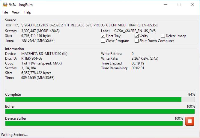 Smartbuy DVD+R DL RITEK-S04-66 Panasonic UJ-260 Burning 9