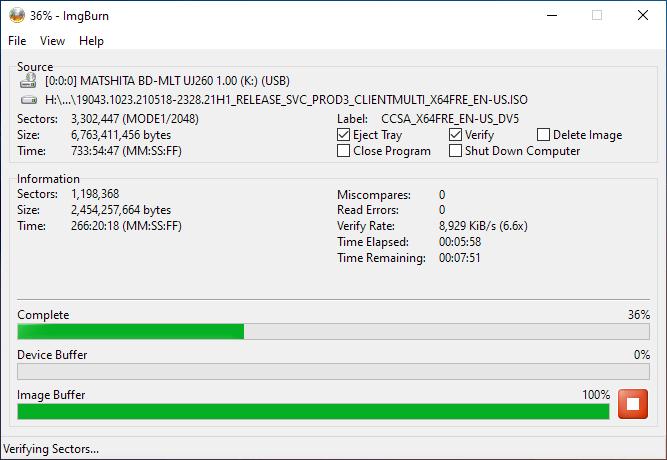 Smartbuy DVD+R DL RITEK-S04-66 Panasonic UJ-260 Verifying 2