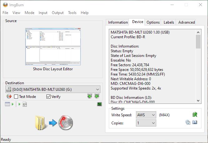 SpeedX BD-R DL Panasonic UJ-260 1