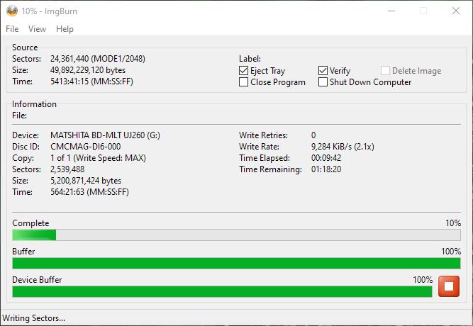SpeedX BD-R DL Panasonic UJ-260 2