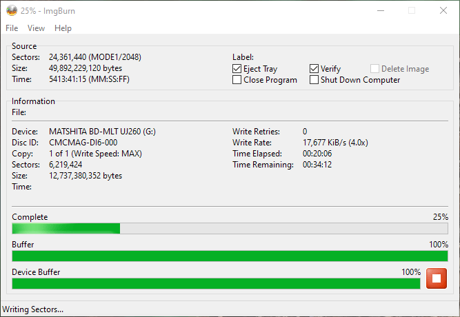 SpeedX BD-R DL Panasonic UJ-260 3