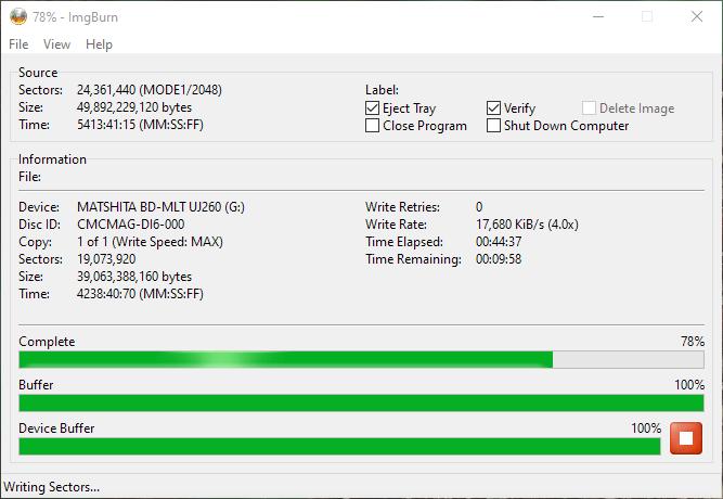 SpeedX BD-R DL Panasonic UJ-260 5