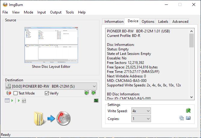 ValueDisc BD-R 25GB CMCMAG-BA5-000 Pioneer BDR-2212 4x 1