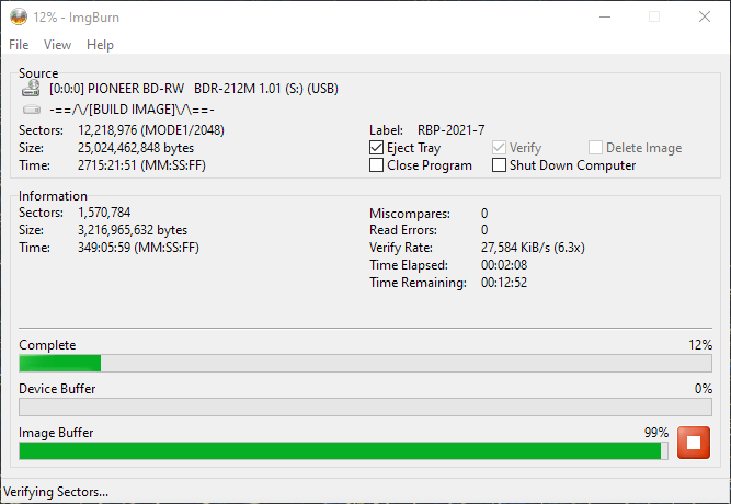 ValueDisc BD-R 25GB CMCMAG-BA5-000 Pioneer BDR-2212 4x 8