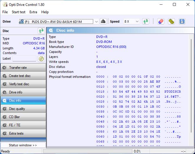 PlexDisc DVD+R on LiteOn DU-8A5LH 8x 13