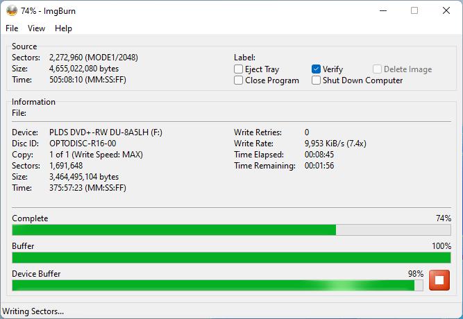 PlexDisc DVD+R on LiteOn DU-8A5LH 8x 7