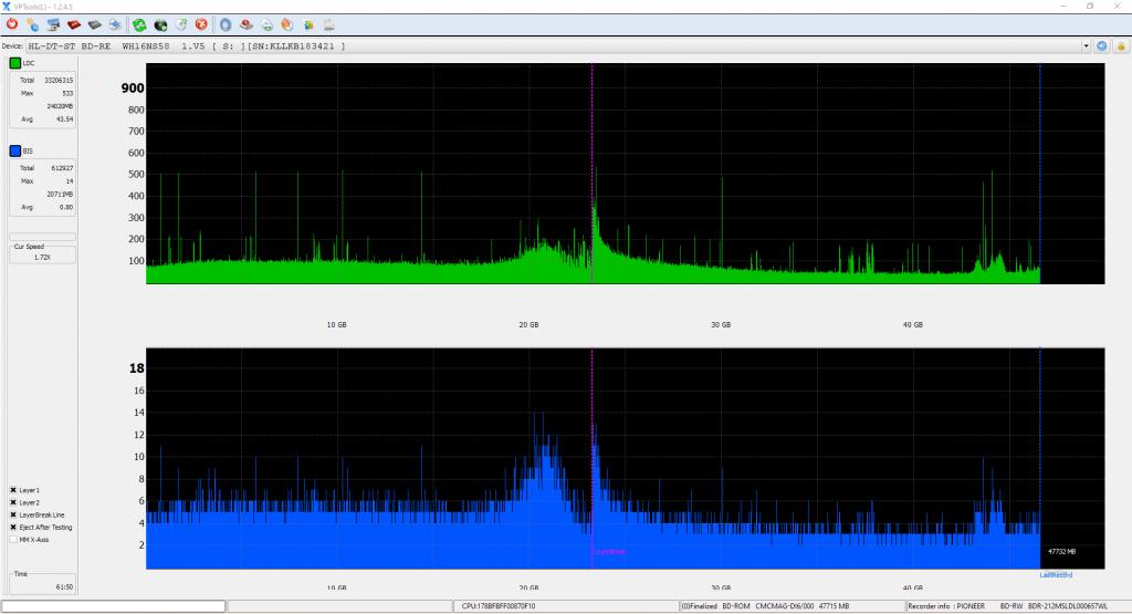 SpeedX BD-R DL Pioneer BDR-2212 6x 14