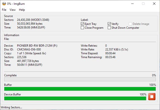 SpeedX BD-R DL Pioneer BDR-2212 6x 3