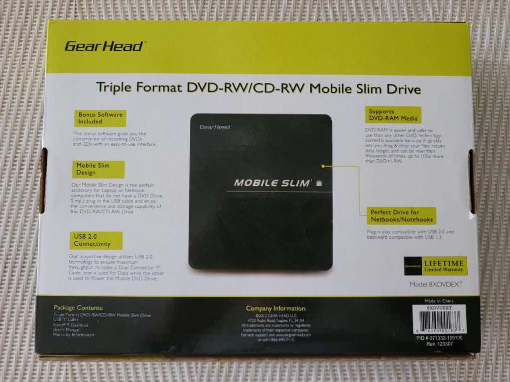 Gear Head Triple Format Mobile Slim External DVD Drive 2