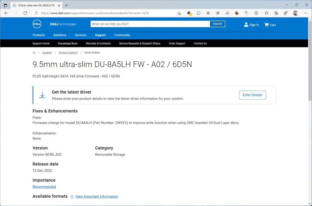 Descargando el firmware 6D5N de la unidad óptica LiteOn (PLDS) DU-8A5LH desde la página de Dell.