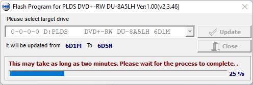 Corriendo la herramienta del firmware 6D5N de la unidad óptica LiteOn (PLDS) DU-8A5LH - Actualizando.