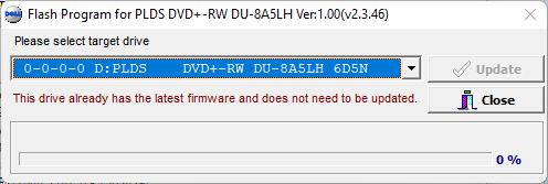 Corriendo la herramienta del firmware 6D5N de la unidad óptica LiteOn (PLDS) DU-8A5LH - Actualización completa.